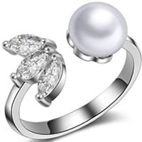 Cubic Zircon Brass Finger Ring, with ABS Plastic Pearl, real silver plated, with 925 logo & open & micro pave cubic zirconia & for woman, lead & cadmium free, 20x26mm, US Ring Size:6.5, Sold By PC