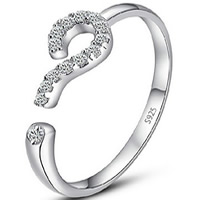 Cubic Zirconia Micro Pave Brass Finger Ring, real silver plated, with 925 logo & open & micro pave cubic zirconia & for woman, lead & cadmium free, 53mm, US Ring Size:6.5, Sold By PC