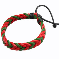 Unisex Bracelet, Cowhide, with Linen, braided bracelet & adjustable, multi-colored, 11mm, Length:Approx 7.4 Inch, Sold By Strand