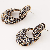 Rhinestone Drop Earring, Zinc Alloy, plated, for woman & with rhinestone, more colors for choice, 20x37mm, Sold By Pair