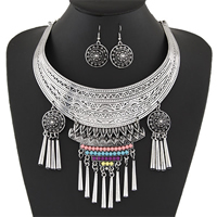 Fashion Zinc Alloy Jewelry Sets, earring & necklace, with Resin, antique silver color plated, twist oval chain & for woman, 25x45mm,130mm,80x120mm, Length:Approx 16.5 Inch, Sold By Set