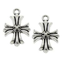 Zinc Alloy Cross Pendants, fleur-de-lis cross, antique silver color plated, lead & cadmium free, 15x23x3mm, Hole:Approx 2mm, Sold By PC