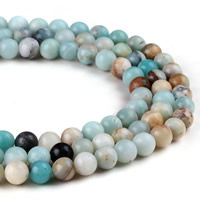 Amazonite Beads, Round, natural, different size for choice, Hole:Approx 1mm, Length:Approx 15 Inch, Sold By Strand