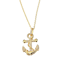 Cubic Zircon Micro Pave Brass Necklace, Anchor, gold color plated, oval chain & micro pave cubic zirconia & for woman, 19x27.5x3mm, 2x2.5x0.5mm, Length:Approx 18 Inch, Sold By Strand
