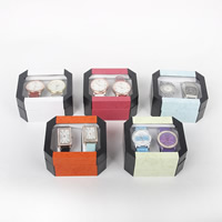 Plastic Watch Box, with Paper, Rectangle, mixed colors, 110x95x60mm, Sold By PC