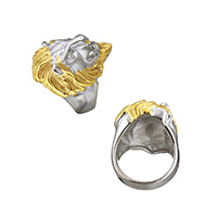 Stainless Steel Finger Ring, Lion, plated, different size for choice, 33mm, Sold By PC