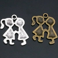 Zinc Alloy Couple Pendant, plated, for couple, mixed colors, lead & cadmium free, 24x18mm, Hole:Approx 1.5mm, 100PCs/Bag, Sold By Bag