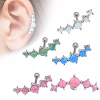 Stainless Steel Ear Piercing Jewelry, with Stone, for woman, more colors for choice, 1.2x6mm, Sold By PC