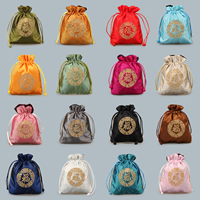 Satin Jewelry Pouches, with Nylon Cord, embroidered, more colors for choice, 120x140mm, Sold By PC