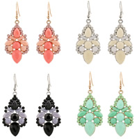Resin Zinc Alloy Earring, with Resin, iron earring hook, plated, faceted, more colors for choice, lead & cadmium free, 58x22mm, Sold By Pair
