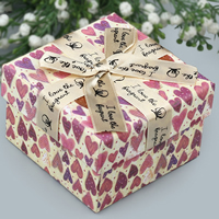 Cardboard Necklace Box, with Satin Ribbon, Square, with heart pattern & with letter pattern, 90x90x60mm, Sold By PC