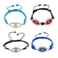 Evil Eye Connector Woven Ball Bracelets