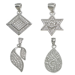 Cubic Zirconia Micro Pave Sterling Silver Pendant