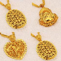 24K Gold Plated Brass Pendant