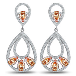 Cubic Zirconia Micro Pave Brass Earring