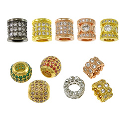 Cubic Zirconia Micro Pave Brass European Bead