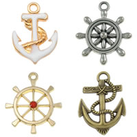 Zinc Alloy Ship Wheel & Anchor Pendants
