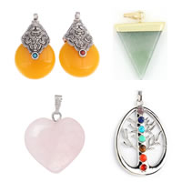 Gemstone Zinc Alloy Pendants