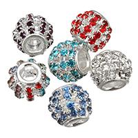 Rhinestone Brass European Beads