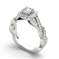 Cubic Zirconia Micro Pave Sterling Silver Finger Ring
