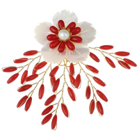 Synthetic Coral Brooch