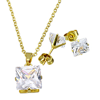 Cubic Zirconia Stainless Steel Jewelry Sets
